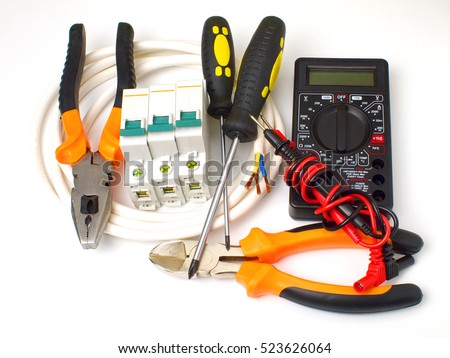 Set Of Electrician Tools And Equipment A Coil Wire On White Background