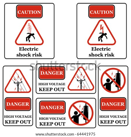 Set of electricity signs symbols isolated on white Black & Red - stock photo