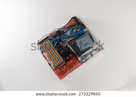 set of electronic details for creativity on a white background - stock photo