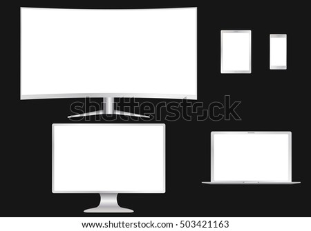 Set of electronic devices. Computer monitor, laptop, tablet, smart phone isolated. Raster illustration.