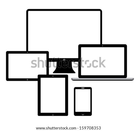 set of electronic devices. smartphone, computer, tablet, netbook.(rasterized version)