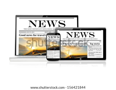 set of electronic devices with media, isolated on white background - stock photo