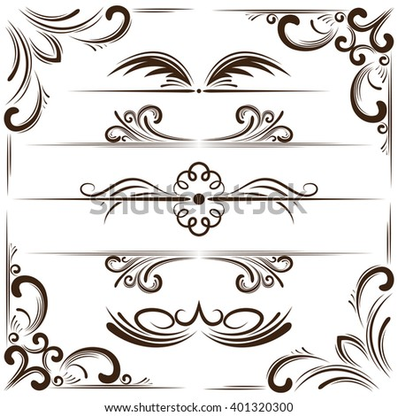 set of elegant bookplates and corners for design - stock photo
