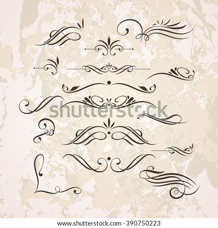 Set of elegant curls and swirls. Elements for design. Ornate lines.