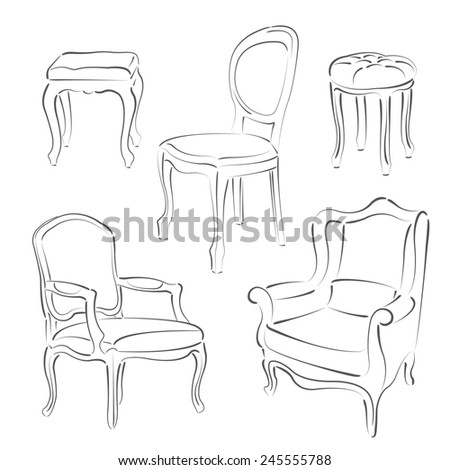 Set of elegant sketched armchairs and chairs. Design template for label, banner, badge, logo. Raster illustration. - stock photo