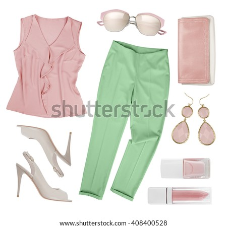 Set of elegant women clothes and accessories isolated on white - stock photo