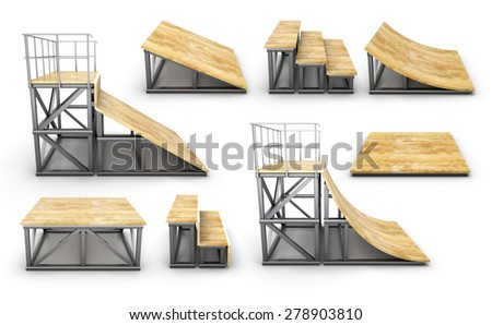 Set of element skatepark on a white background. 3d render image. - stock photo