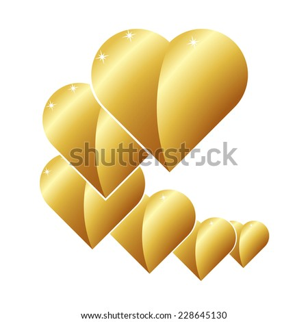set of elements for design golden icons golden heart isolated on white background raster - stock photo