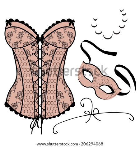 Set of elements for women - Carnival Mask, Corset, Necklace - stock photo