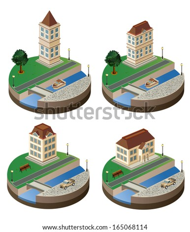 Set of  elements of the urban landscape of isometric - stock photo