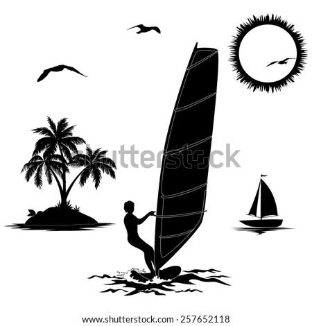 Set of elements symbolizing vacation in the tropics, sportsmen surfer, island with palm trees, sailboat in the sea, sun and the birds, black silhouettes isolated on white background.  - stock photo