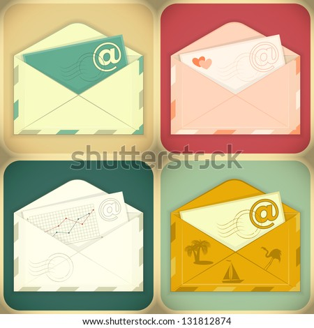 Set of Email Concept. Four Envelopes. JPEG version.