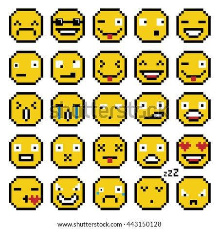 SET OF EMOTIONS SET OF EMOJI SMILE ICONS SMILE PIXEL SMILE RETRO SECOND SET YELLOW - stock photo