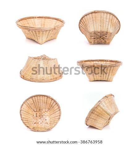 Set of Empty bamboo basket handmade isolated on white background - stock photo