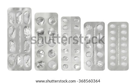 Set of empty plastic blister package , clipping path - stock photo