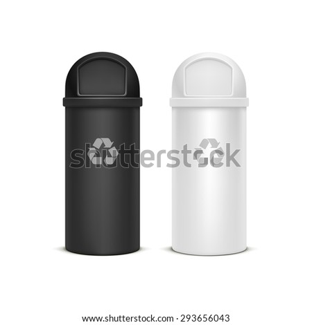 Set of Empty Recycle Bins for Trash and Garbage Isolated on White Background