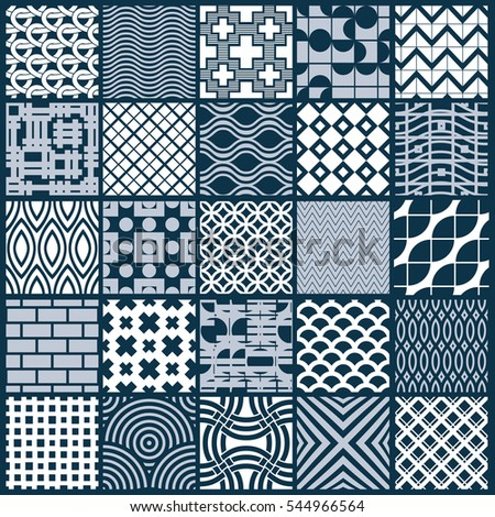 Set of endless geometric patterns composed with different figures like rhombuses, squares and circles. Graphic ornamental tiles made in black and white colors.