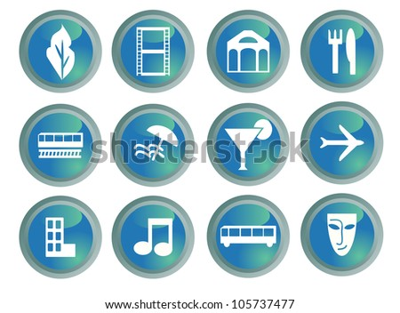 Set of entertainment and travel destination buttons