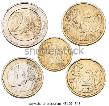 Set of Euro coins isolated on the white background.File contains clipping paths for each coin. - stock photo