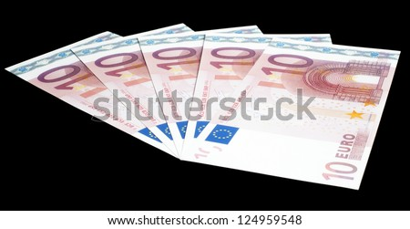 Set of 10 Euro notes on black - These are replica notes within the rules of the ECB, missing security feature (hologram, security stripe), so they can be used for promotional and advertising use.
