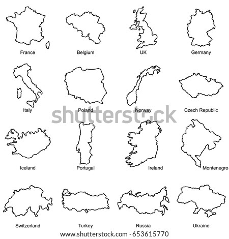 Set European Countries Maps Outline Vector Stock Vector - Portugal map outline