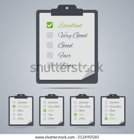 Set of evaluation clipboards in flat style. - stock photo