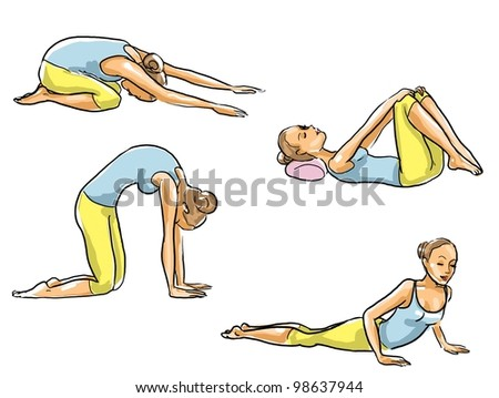 Set of exercises for back - stock photo
