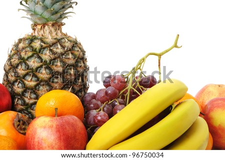 Set of exotic fruit. A detailed photo on a white background