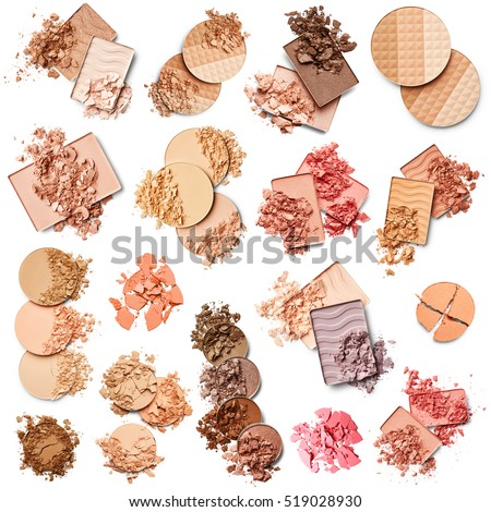 Set of eye shadow, face powder and blush isolated on white background