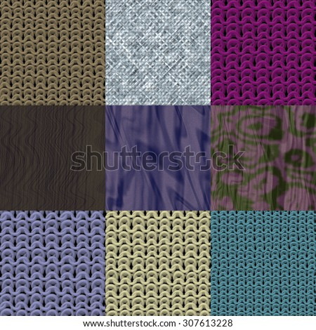 Set of fabric knit generated textures
