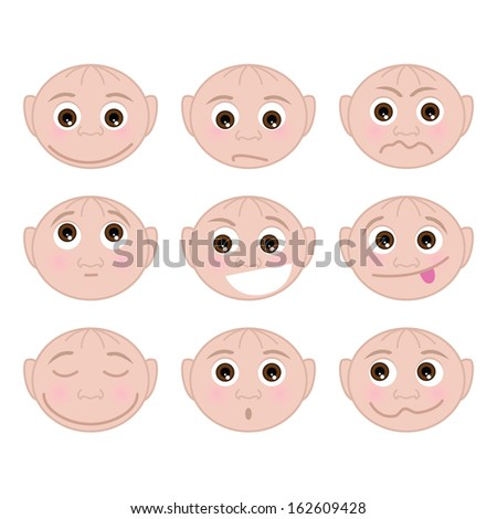 Set of faces with different emotions - stock photo