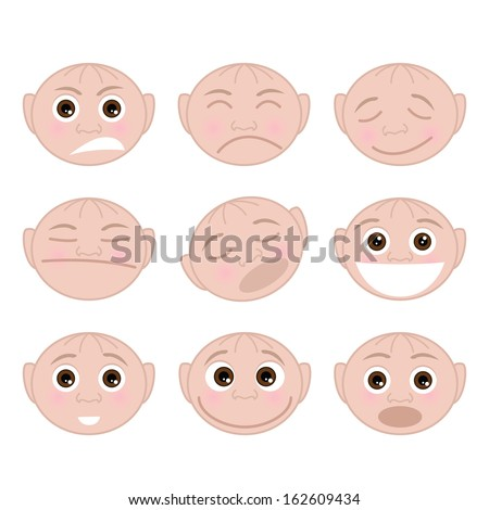 Set of faces with emotions - stock photo