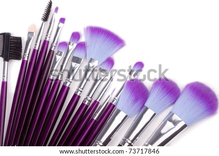 Set of facial make up brushes over white - stock photo