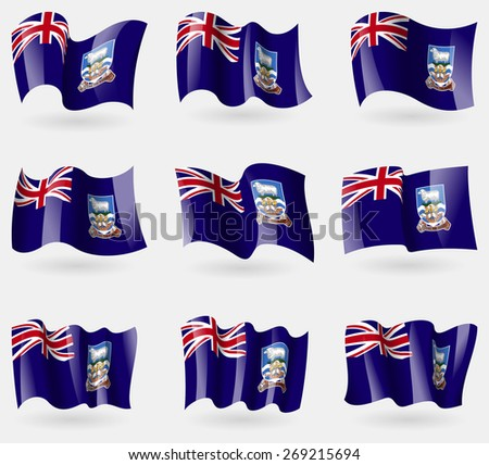 Set of Falkland Islands flags in the air.  illustration - stock photo