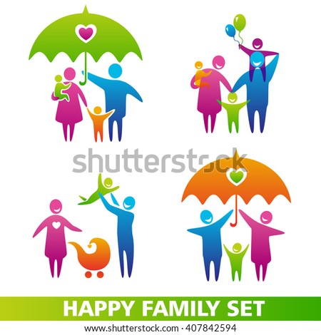 Set of family icons. Happy family concepts: father, mother, daughter and son together. Happy family icons set jpeg