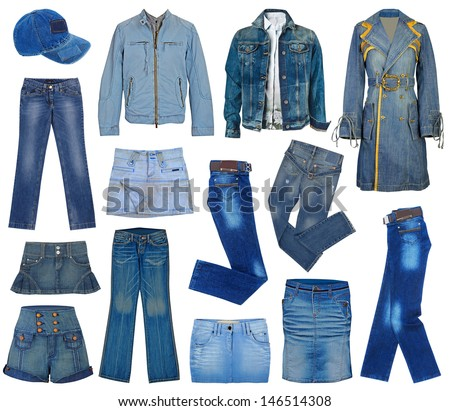 set of fashion jeans - stock photo