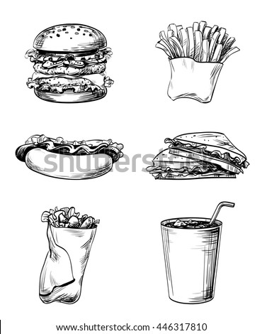 Set of fast food elements, hand drawn graphic lines and strokes icons French fries, sandwich, hamburger, Hot Dog and soda drink for menu the restaurant, cafe, bistro or snack bar on a white background - stock photo