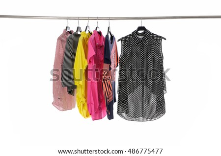Set of female clothes on hanging