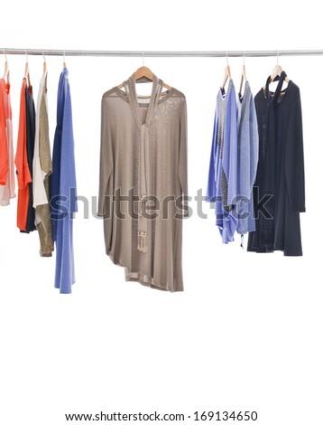 Set of female dress isolated on hanging - stock photo