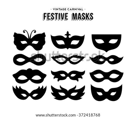 Set of festive vintage carnival masks silhouettes isolated over white.