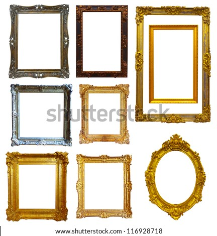 Set of few gold picture frame. Isolated over white background with clipping path - stock photo