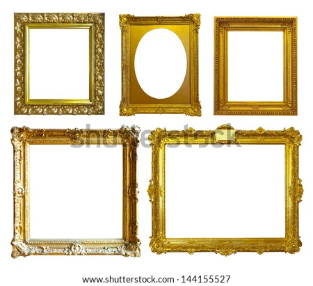 Set of few picture frames. Isolated over white background