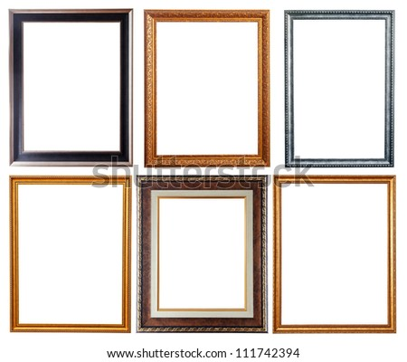 Set of few picture frames. Isolated over white background with clipping path - stock photo