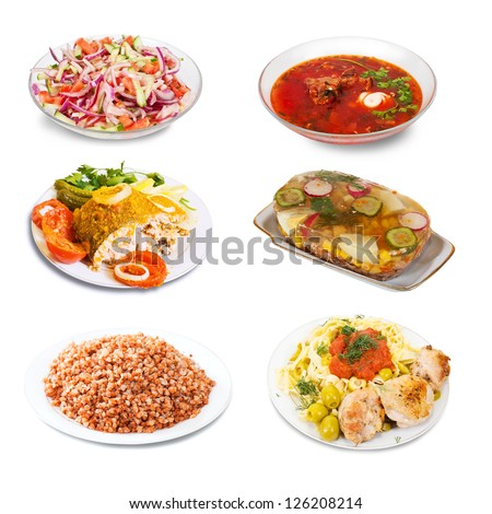 Set of few plates with food over white background