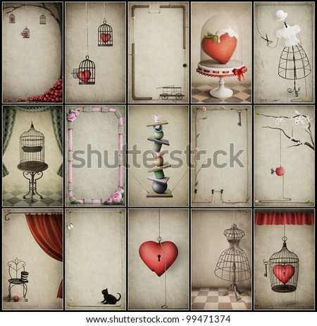 Set of fifteen vintage cards for business cards or wallpapers for mobile phones. Computer Graphics. - stock photo