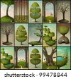 Set of fifteen vintage cards wallpapers for mobile phones. Computer Graphics. - stock vector