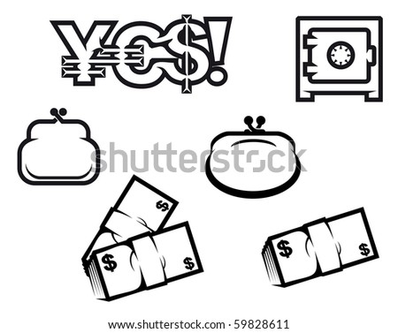 Set of finance and economic symbols. Vector version also available in gallery - stock photo