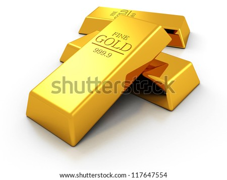 Set of fine gold bars on white background - stock photo