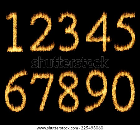 Set of fire burning arabic numbers on black background.