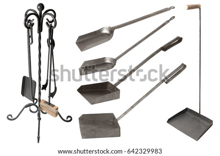 set of fireplace accessories isolated on white background fireplace tools and birch firewood
